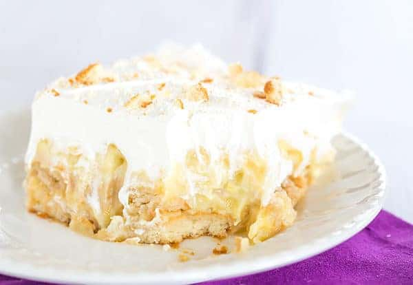 Pineapple Icebox Cake - Luscious layers of Nilla wafers, vanilla pudding and pineapple. An easy no-bake summertime dessert perfect for Easter!