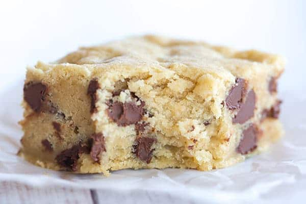 Chocolate chip cookie bars are the perfect easy treat when you're craving your favorite chocolate chip cookies but don't want to wait for dough to chill or to scoop out cookies!