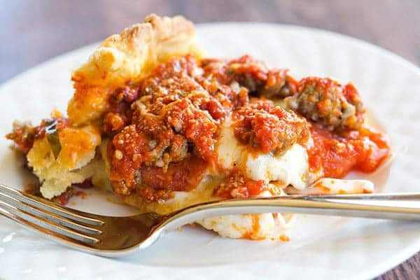 Deep Dish Biscuit Pizza - All of the amazing flavor of a traditional deep dish pizza without a shortcut biscuit crust. Great for a quick pizza night!