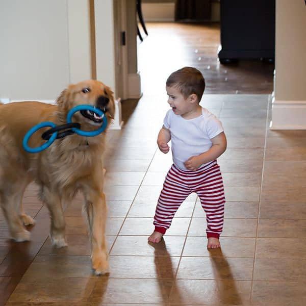 Joseph and Duke playing before bedtime