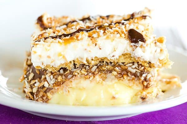 Samoa Icebox Cake: A classic no-bake dessert that features all of the classic flavors of one of the most popular Girl Scout cookies - Samoas!