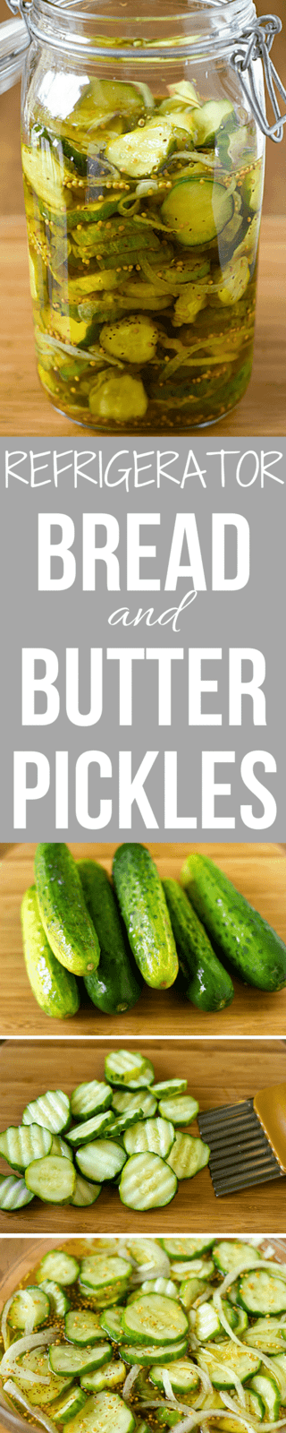 A wonderful, simple recipe for homemade refrigerator Bread and Butter Pickles. No canning equipment required! Just prepare and pop in the fridge!