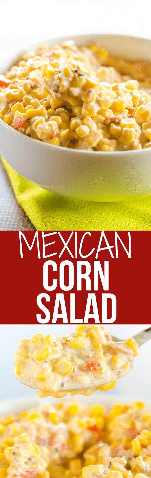 This creamy corn salad has Mexican flair, tons of flavor, and a big kick thanks to the addition of green chiles! A perfect side dish for summer parties!