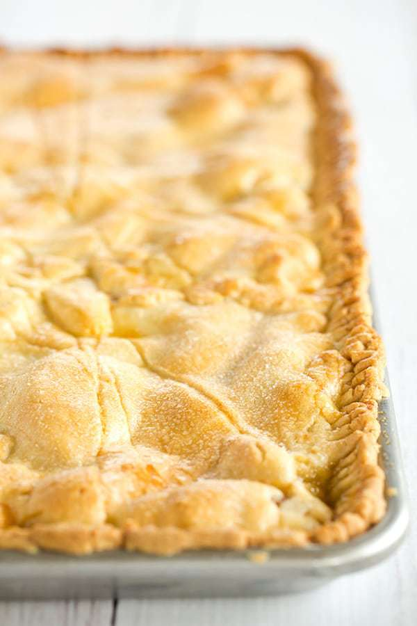 Nectarine Slab Pie - Homemade pie with a tender pastry crust and filled with both yellow and white nectarines. A summer must!