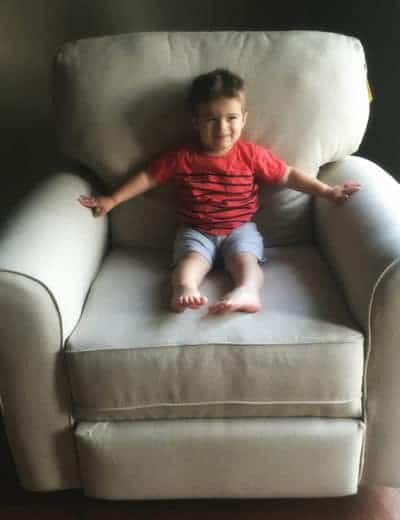 Joseph testing out the chair for his little brother's room!