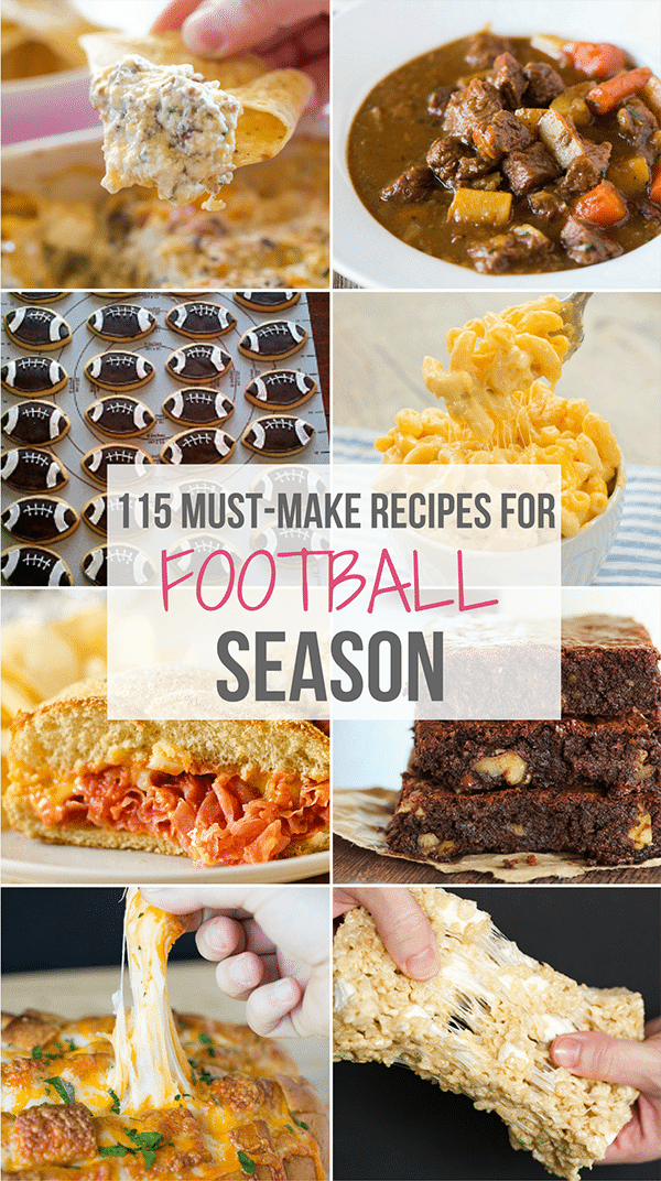 A roundup of my favorite football food recipes including snacks, appetizers, sandwiches, pizza, chili, and of course sweet treats!