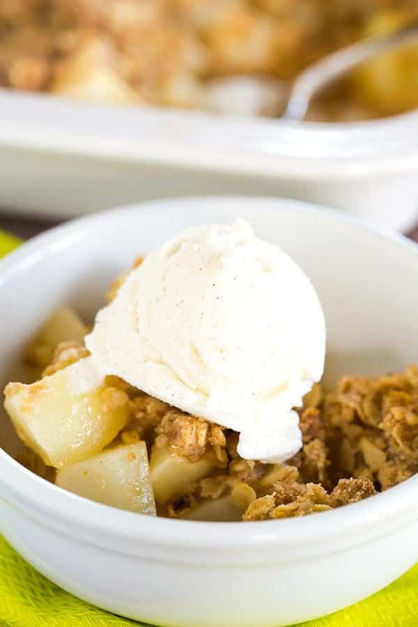 This pear crisp is the perfect fall dessert - incredibly quick and easy, not too sweet, and full of juicy, ripe pears. Add it to your fall baking list now!