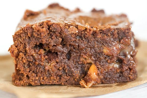 Salted Rolo Brownies: These super fudgy brownies are loaded with chopped Rolo candies, have additional candies pressed into the top of the batter, and include a healthy dose of flaked sea salt for the ultimate balance.