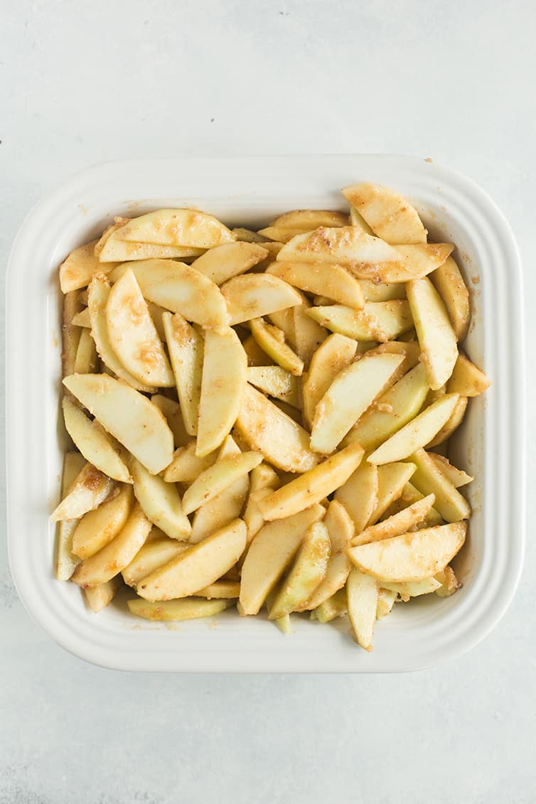 Apple crisp filling in the pan.
