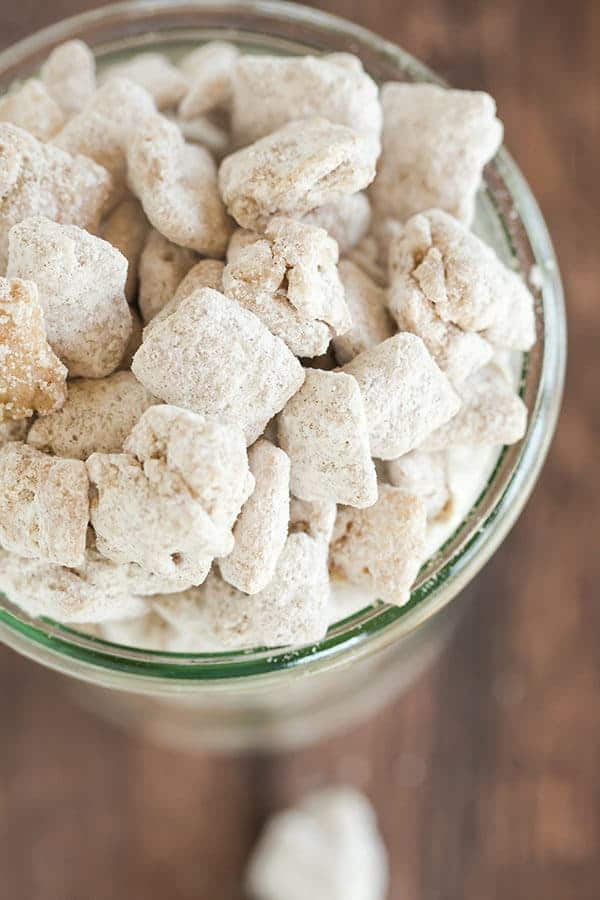 Snickerdoodle Muddy Buddies are a cinnamon and sugar-coated rendition of one of my favorite snacks - candied Rice Chex!