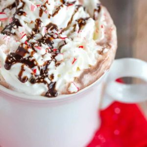 Peppermint Bark Hot Chocolate is an easy way to put a homemade spin on your favorite hot chocolate mix and the best peppermint bark!