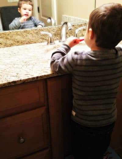 Joseph brushing his teeth before bed - such a big boy! | browneyedbaker.com