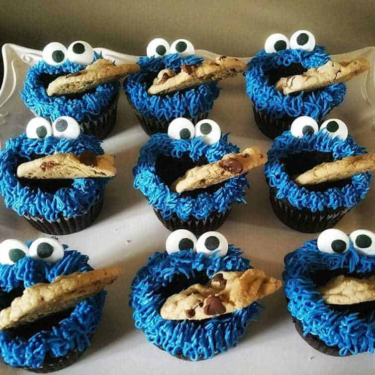Cookie Monster Cupcakes | Sesame Street Themed 2nd Birthday Party