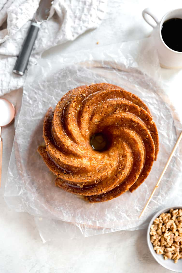 A Bundt-style rum cake shot overhead.