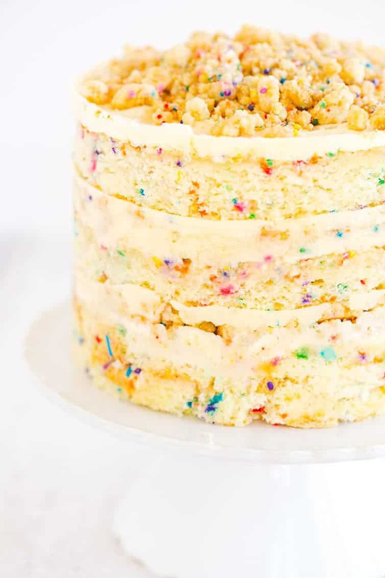 The Famous Momofuku Milk Bar Birthday Layer Cake Layers Of Funfetti Cake Loaded With Sprinkles