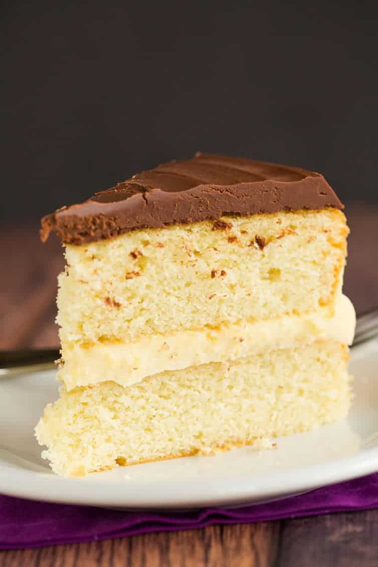 Boston Cream Pie - This recipe features a simple vanilla cake filled with homemade pastry cream and topped with a chocolate ganache.