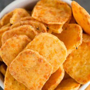 A closeup shot of homemade cheese crackers.