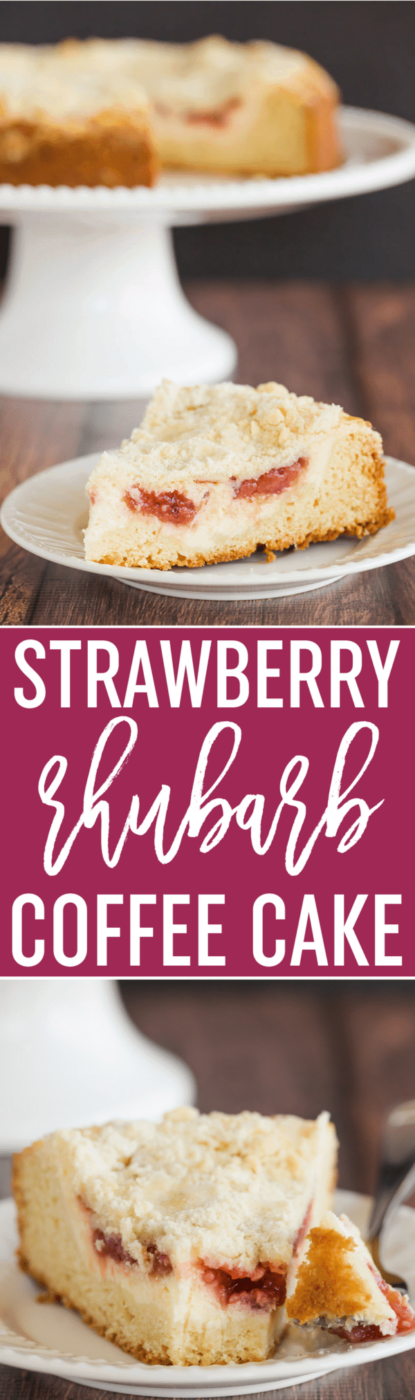 Strawberry Rhubarb Coffee Cake - A biscuit-like cake topped with a cream cheese filling and homemade strawberry rhubarb jam.