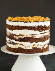 A s'mores layer cake sitting on a cake pedestal.