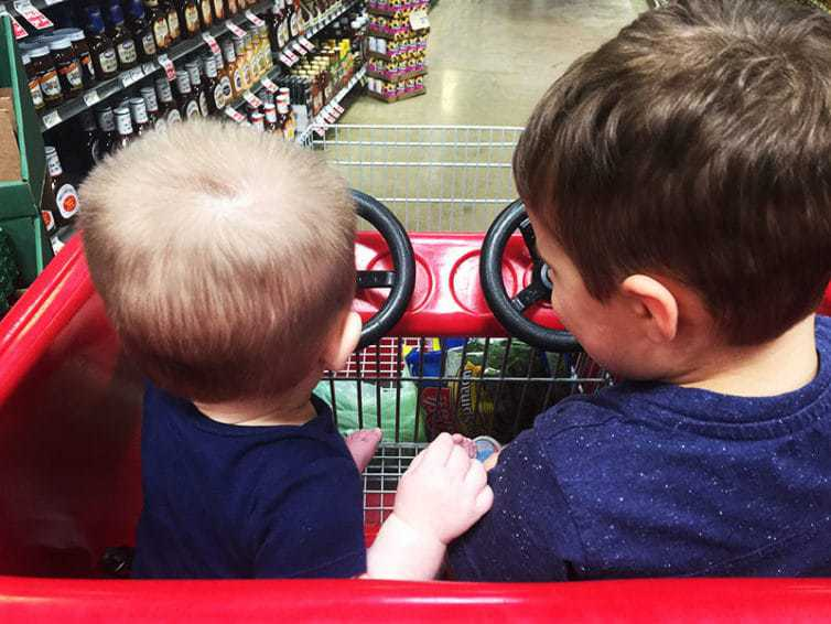 Joseph and Dominic at the grocery store