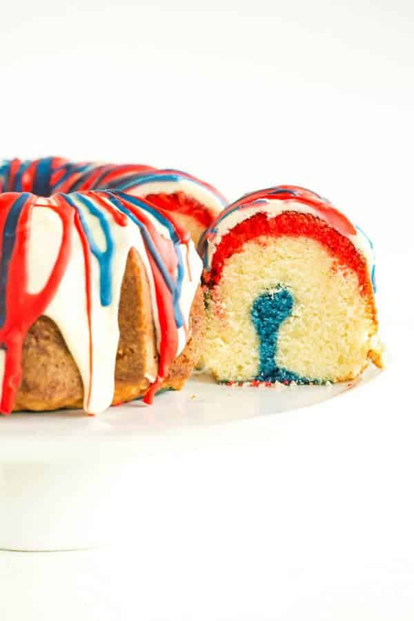 This homemade Firecracker Cake has layers of red, white and blue batter.