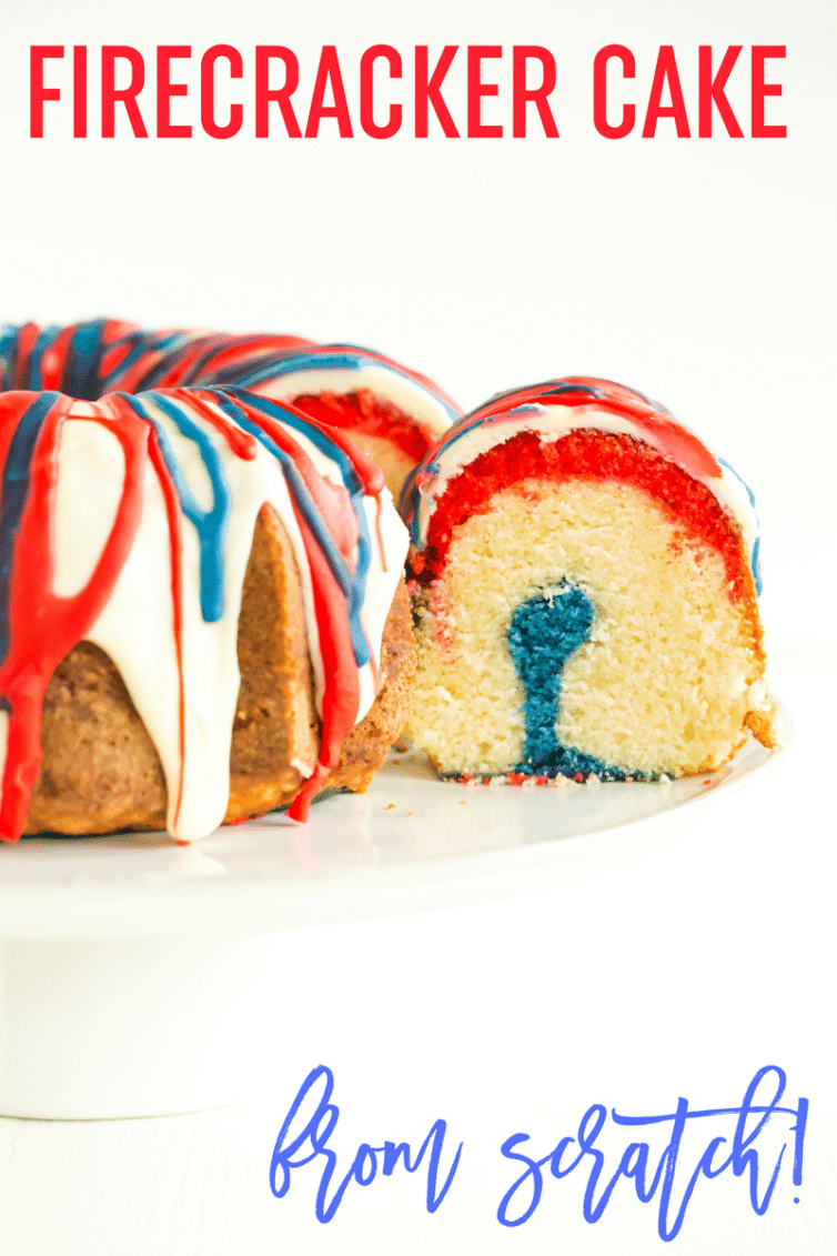 Firecracker Cake :: This homemade version of the popular, red, white & blue Bundt cake is made completely from scratch!