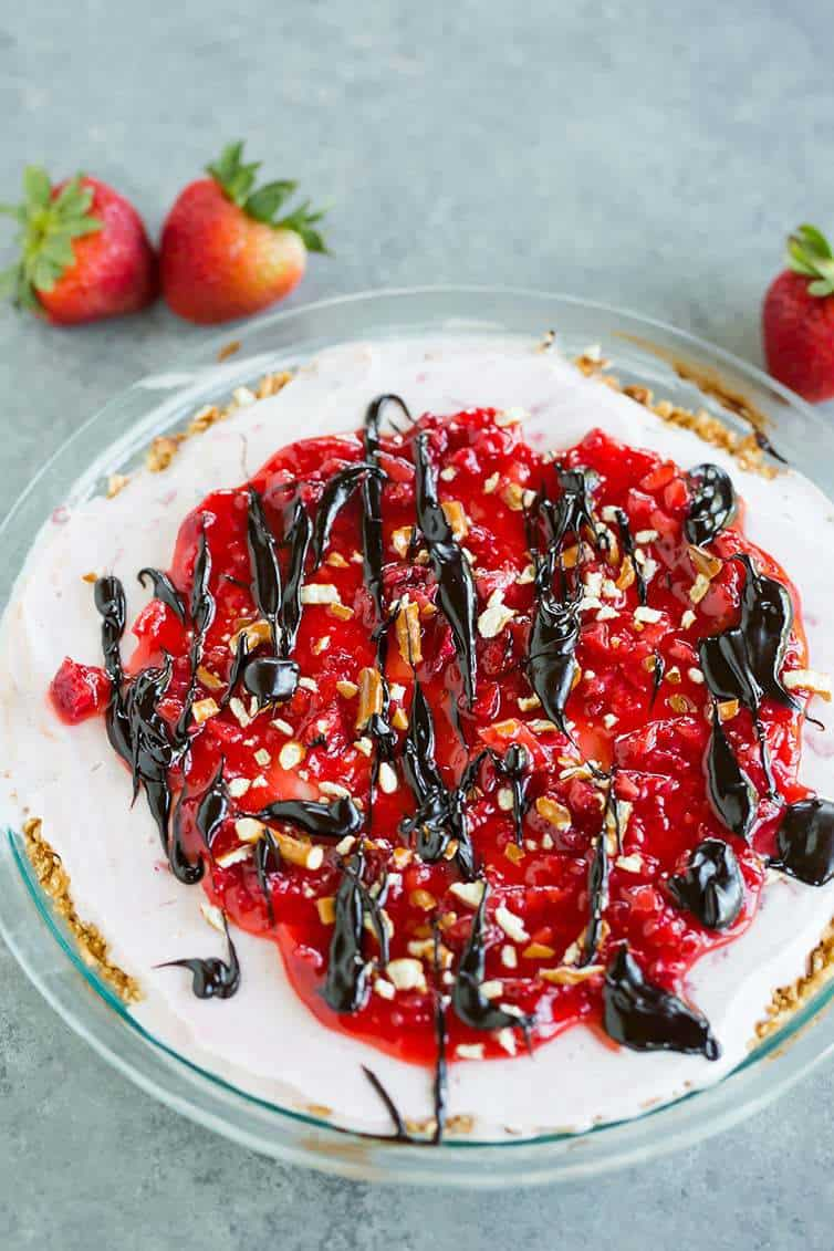 An overhead look at Pretzel Strawberry Ice Cream Pie