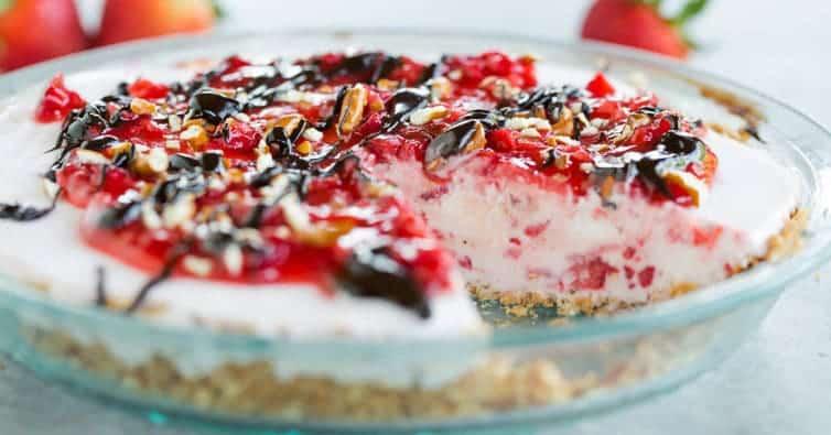 Pretzel Strawberry Ice Cream Pie | Brown Eyed Baker