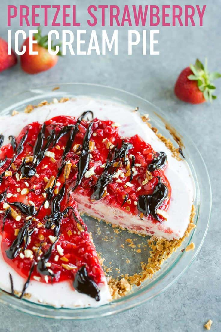 Pretzel Strawberry Ice Cream Pie :: A refreshing salty-sweet strawberry-vanilla ice cream pie with a sugar cone and pretzel crust, topped with fresh strawberry jam, hot fudge sauce, and more crushed pretzels.