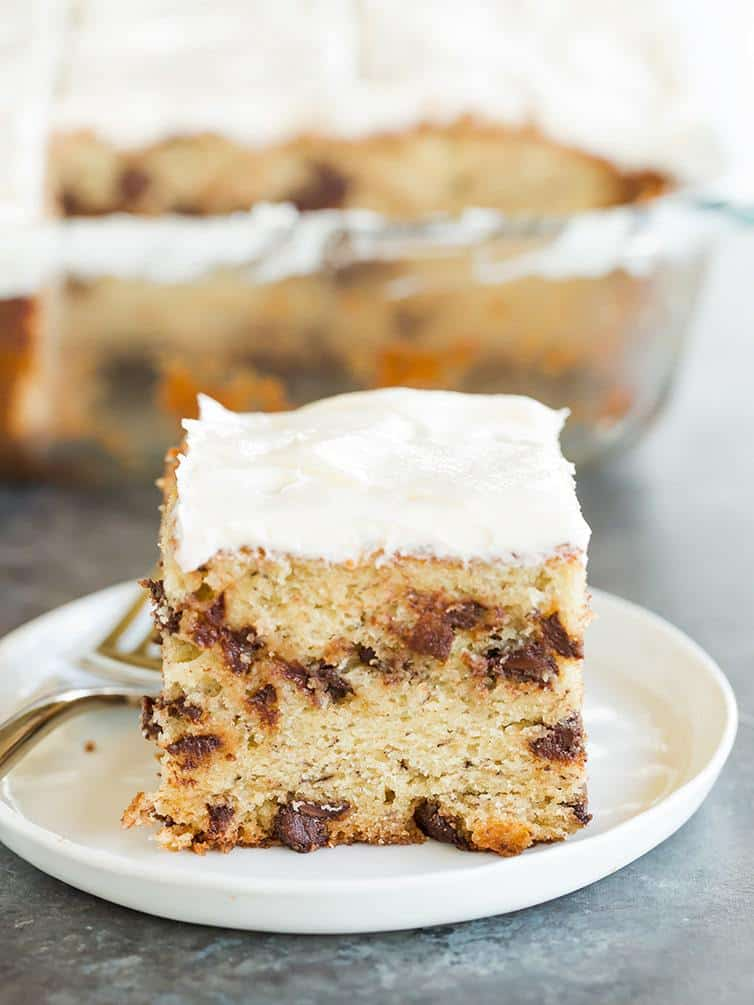 A nice big slice of Banana-Chocolate Chip Snack Cake with Cream Cheese Frosting