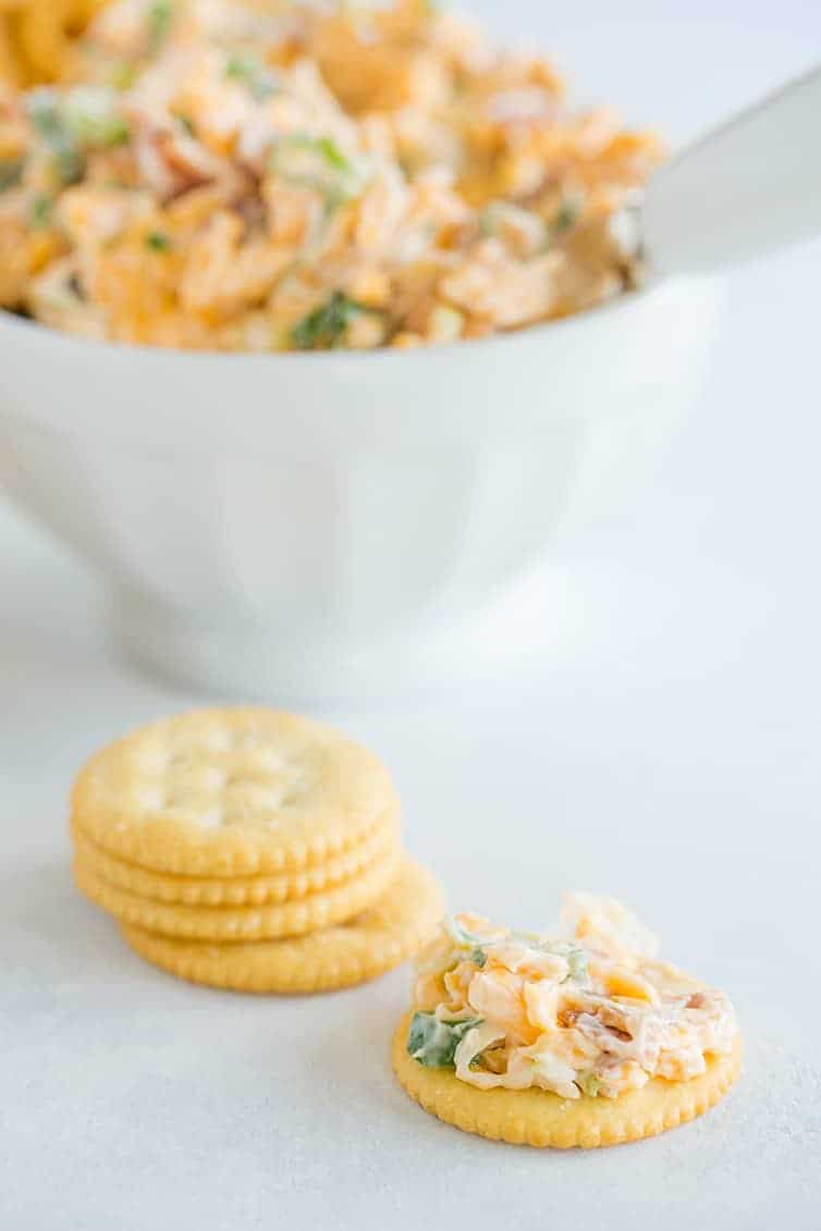 Neiman Marcus Dip - A quick and easy combination of bacon, cheddar, scallions, mayo, toasted almonds and hot sauce!