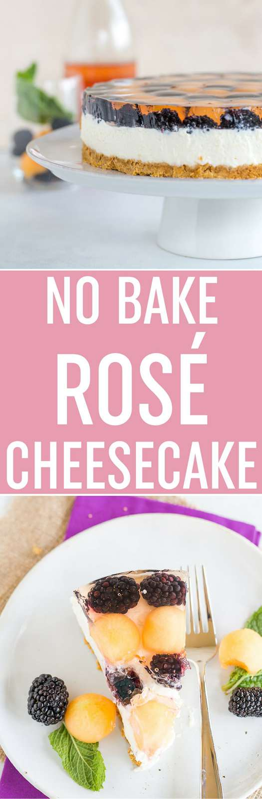 No Bake Rosé Cheesecake - A graham cracker crust with a no bake, rosé-infused cheesecake filling, topped with a cantaloupe and blackberry rosé gelatin. It's easy, summery, and a total show-stopper; a must make it for National Cheesecake Day! Sponsored by @spreadphilly.