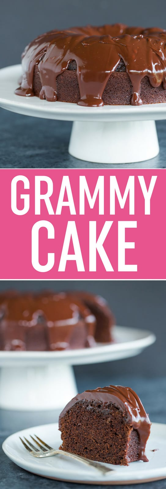 Grammy Cake - This old-fashioned chocolate cake is baked in a tube pan, comes out extremely moist, and is covered in decadent chocolate ganache.