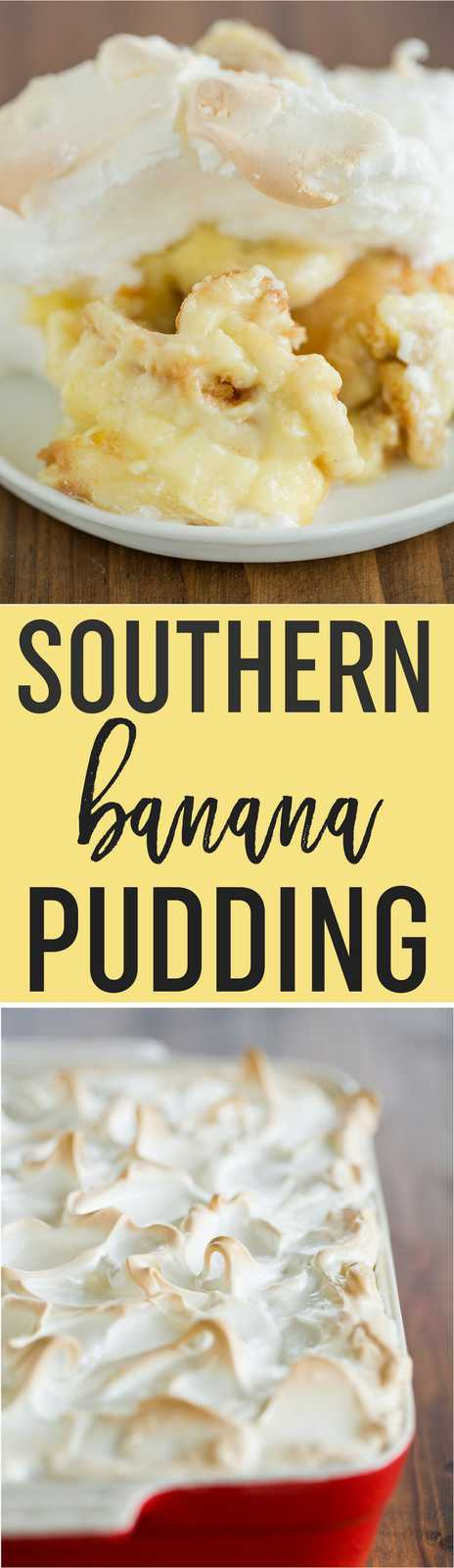 Traditional Southern Banana Pudding starts with a layer of Nilla wafers, sliced bananas, homemade vanilla pudding, and is topped with piles of meringue!