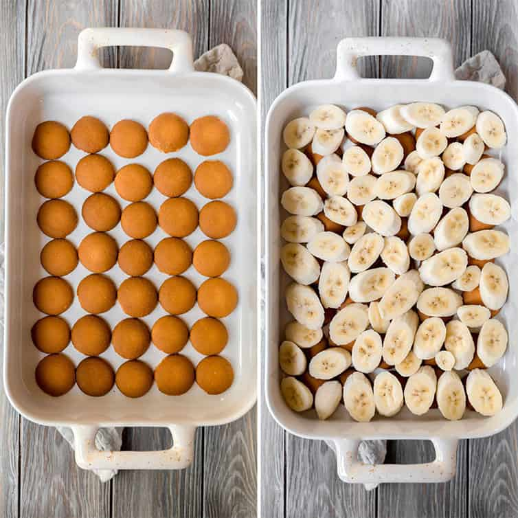 Side by side photos of a pan with vanilla wafers and bananas layered on top.