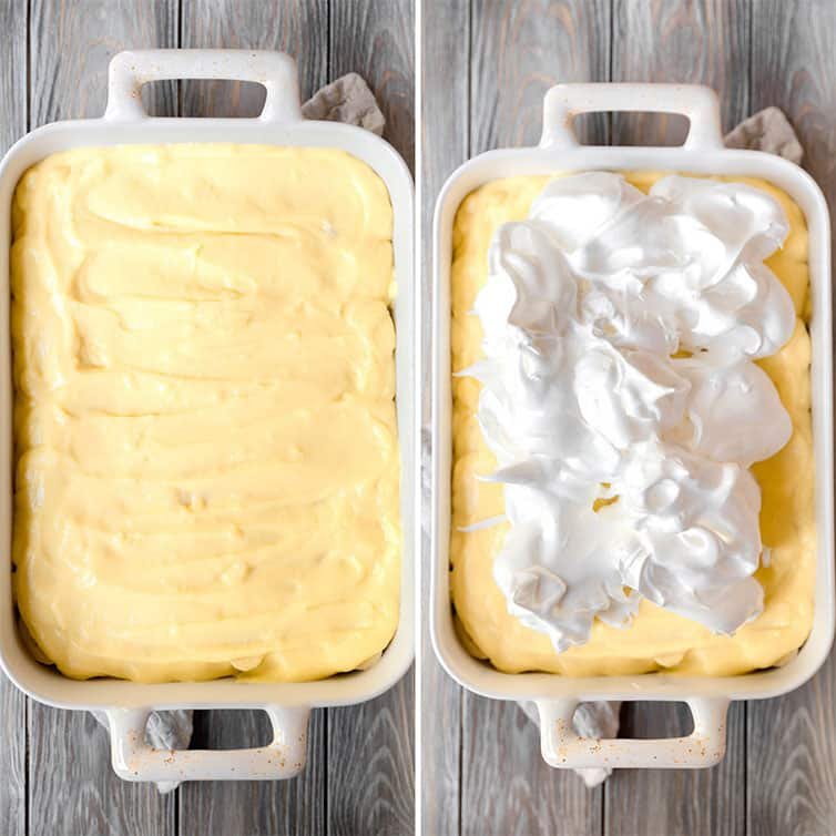 Side by side photos of pudding spread in a pan and meringue on top.
