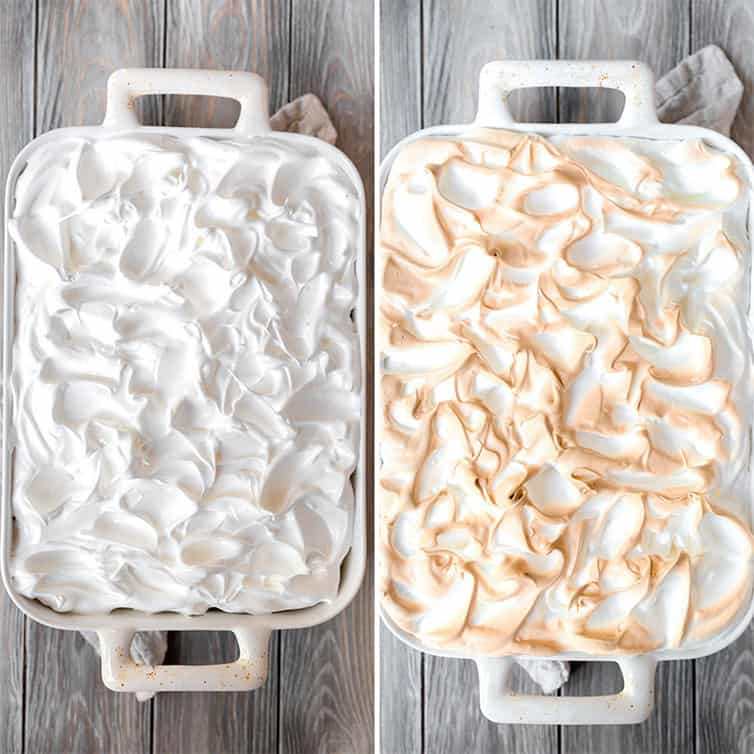 Side by side photos of a pan topped with meringue, before and after baking.
