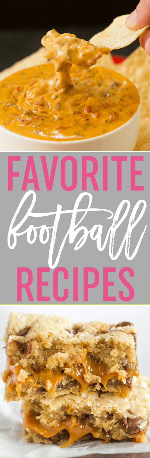 80 of My Favorite Football Food Recipes - Lots of recipes perfect for football watching including dips, appetizers, savory snacks, legit meals, and of course - sweets!