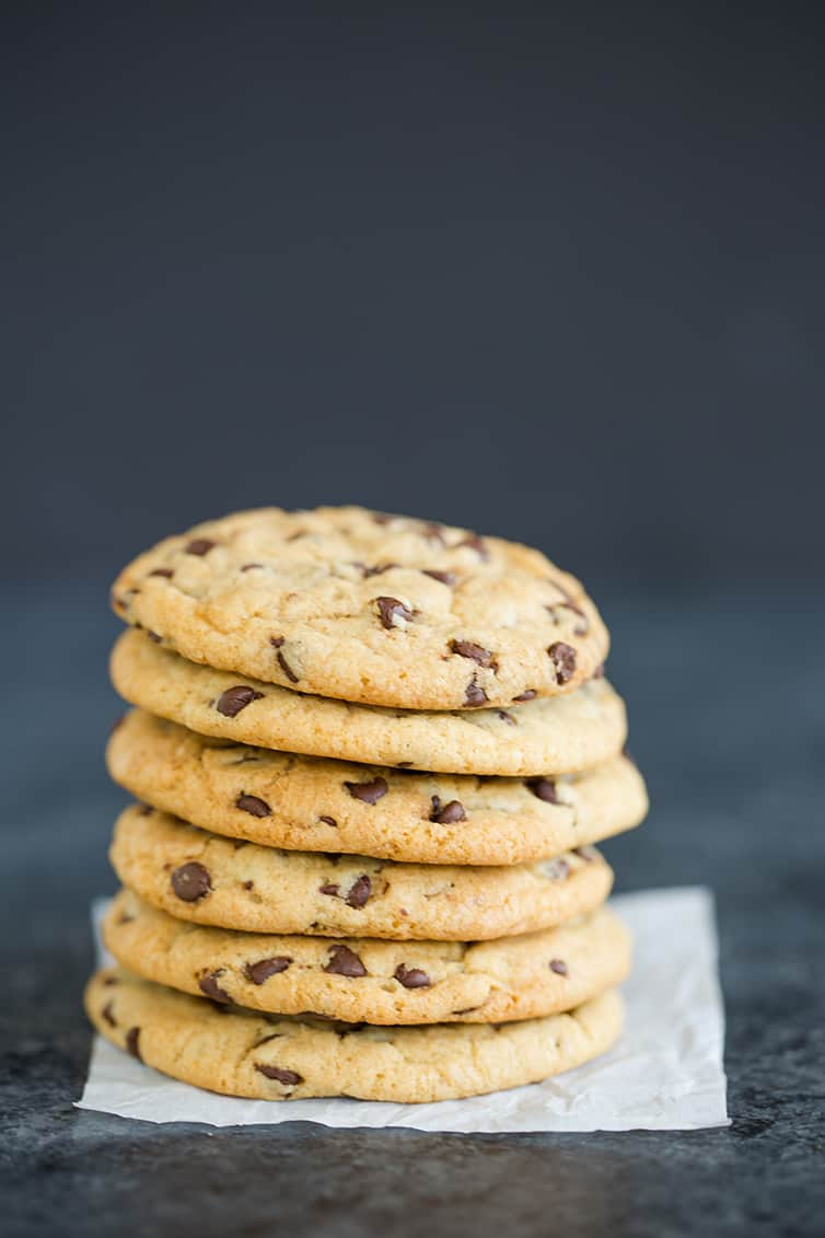 So many soft and chewy chocolate chip cookies in a big stack!