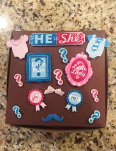 Box decorated in blue and pink for gender reveal.