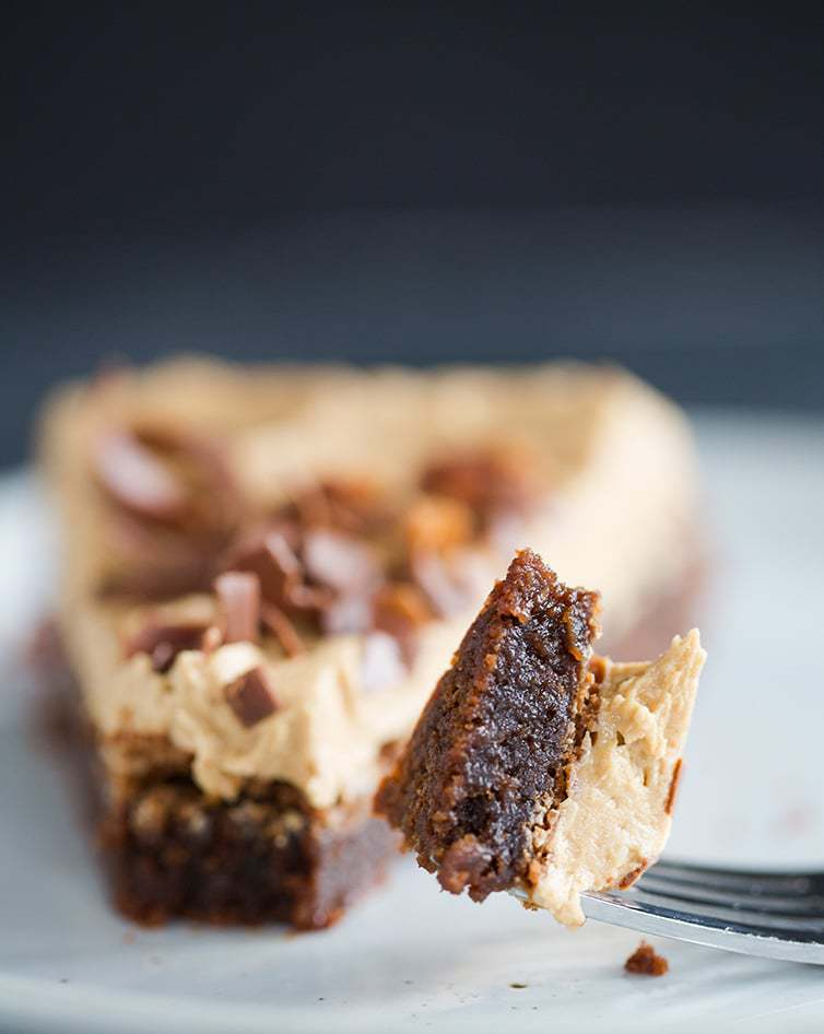 Taking a bite of Brownie Cake with Cookie Butter Frosting