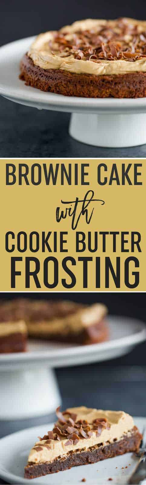 Brownie Cake with Cookie Butter Frosting | A dense and moist brownie is baked into a cake then topped with Biscoff frosting. A perfect combination of sweet, salty, and a touch of spice! An easy dessert perfect for company! #brownies #cake #easy #recipe #biscoff #cookiebutter #speculoos