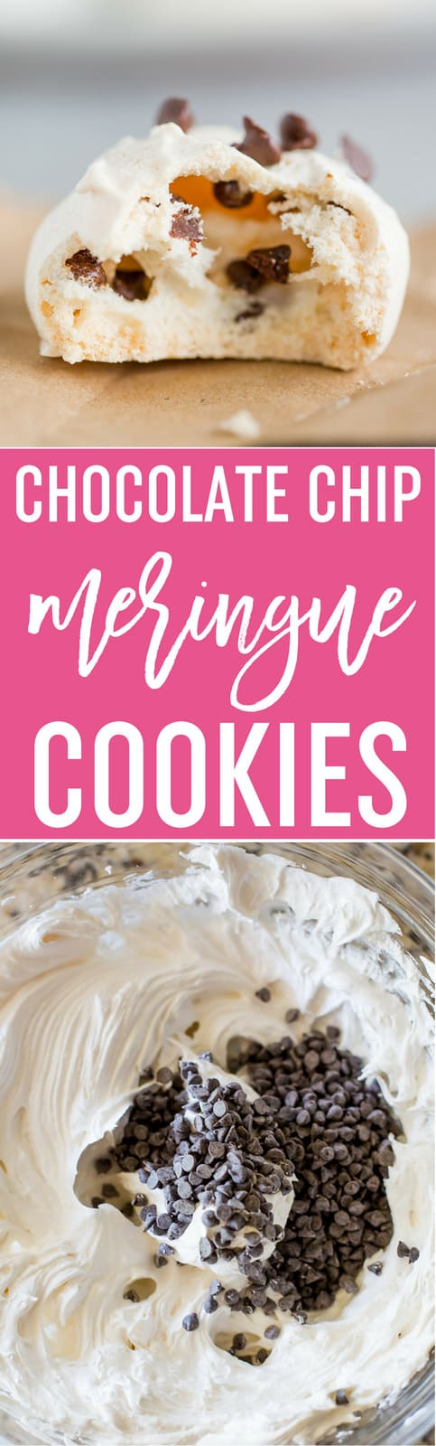 Chocolate Chip Meringue Cookies - These easy meringue cookies are loaded with mini chocolate chips and are perfect for any occasion, especially for holiday cookie exchanges and cookie trays! #baking #cookies #recipe #meringue #chocolatechips #easyrecipe
