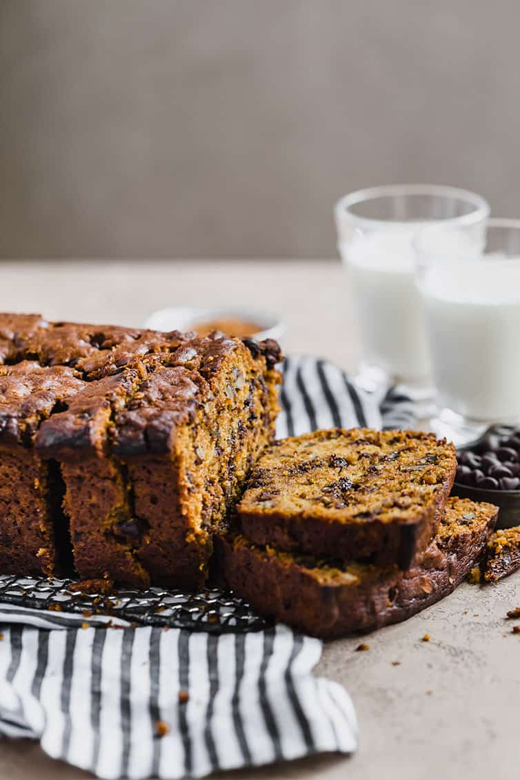 Pumpkin Bread With Chocolate Chips Pecans Brown Eyed Baker