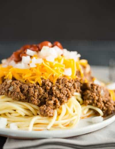 A plate of Cincinnati chili five way.