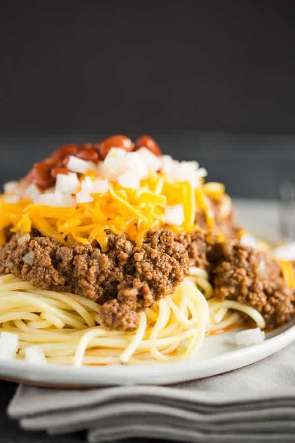 A plate of Cincinnati chili five way.