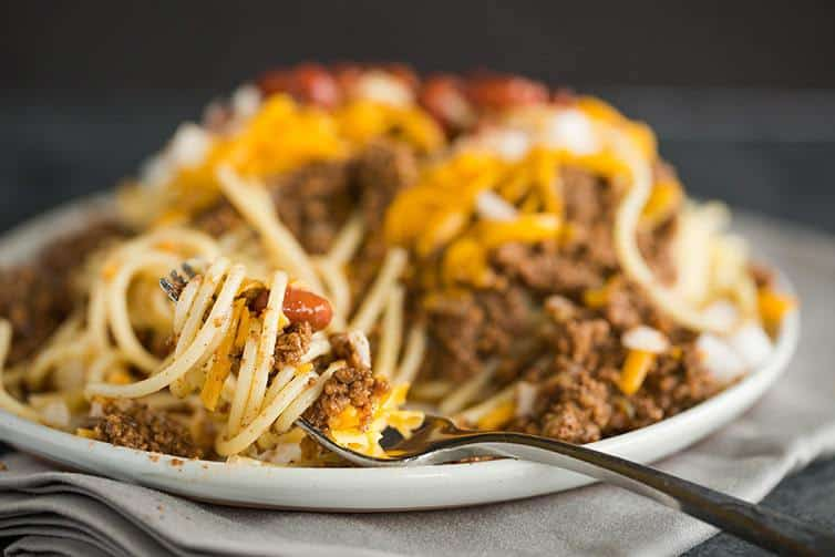 A big forkful of Cincinnati chili!