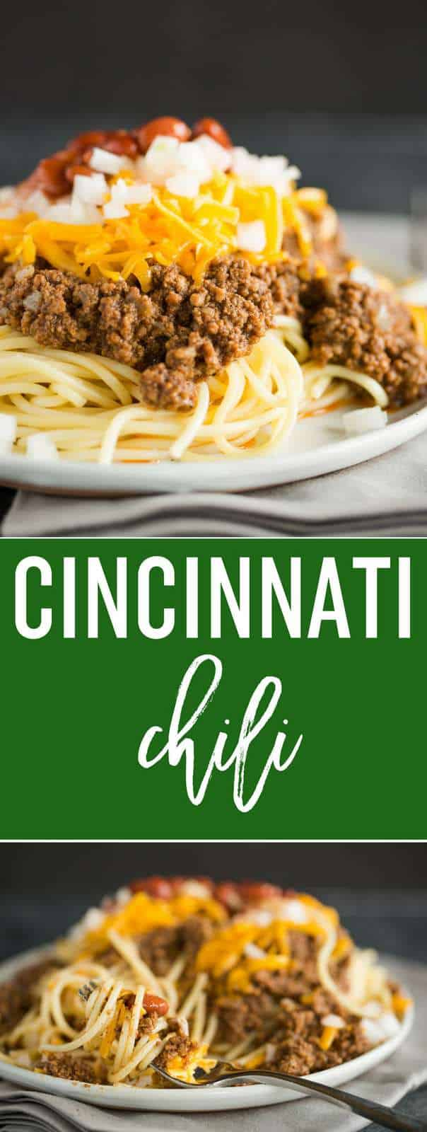 Cincinnati Chili :: This easy midwestern classic is total comfort food! Slow simmered for 3 hours and served over spaghetti with shredded cheese, chopped onions, and chili beans, perfect cold weather food! #recipe #dinner #easy #chili #cooking #beef