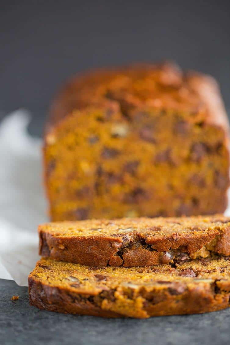 A sliced loaf of pumpkin bread.