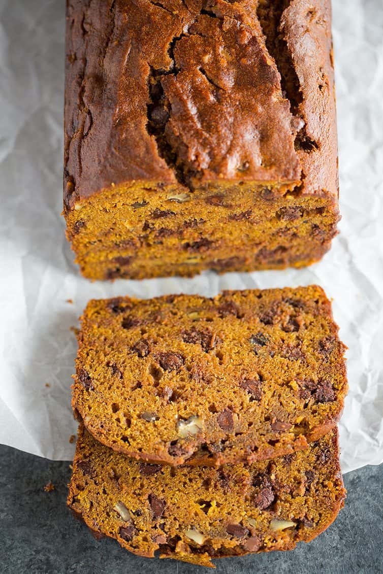 An overhead shot of sliced pumpkin bread with chocolate chips and pecans.
